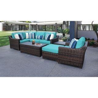 Kathy Ireland River Brook 8 Piece Outdoor Wicker Patio Furniture