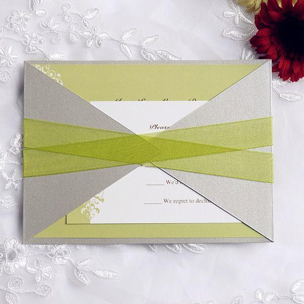 moon green wedding invitation with ribbon and gray pocket EWPI103