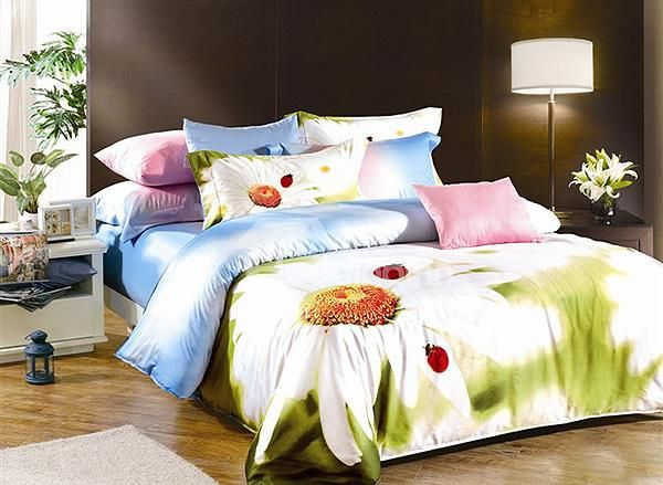 White Daisy Print 4-Piece Cotton Duvet Cover Sets on sale, Buy Retail Price Floral Bedding Sets at Beddinginn.com