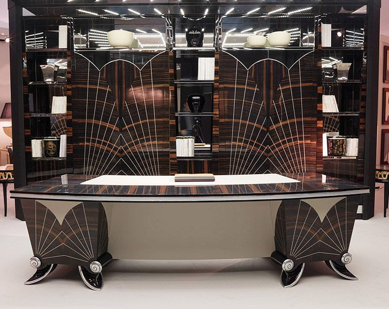 TL FURNITURE Stylised Art Deco Macassar Ebony Desk With Leather - Art deco furniture designers desks