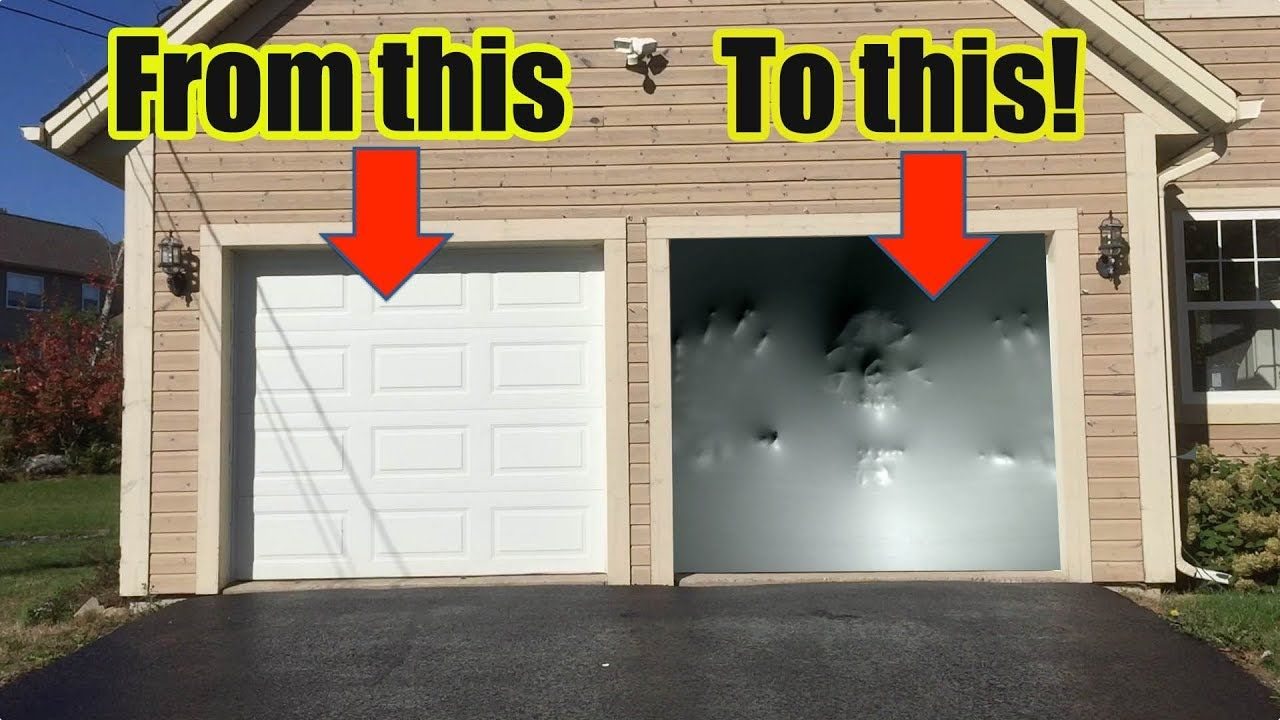 How To Make an Awesome Halloween Garage Door Illusion with - Halloween Garage Door Decorations