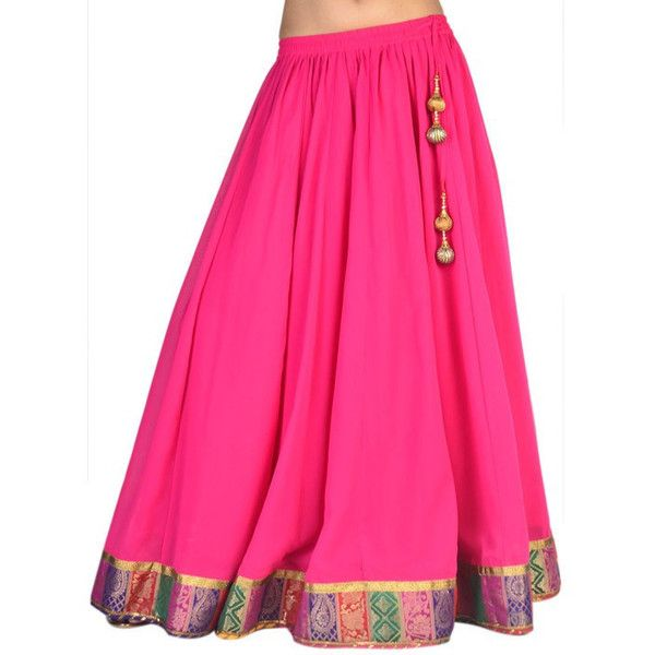 Indian Bollywood Style Designer Pink Color Net Long Skirt Lahanga ...