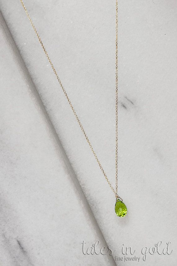 Oval Peridot Pendant Oval Peridot Necklace Natural Peridot 16 Chain Solid Gold Peridot Necklace August Birthstone Necklace