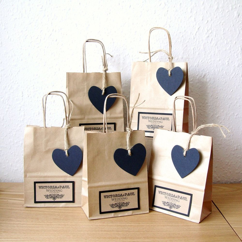Ideas For Wedding Gift Bags: Wedding Favour Bags, SMALL With Black Heart Tag
