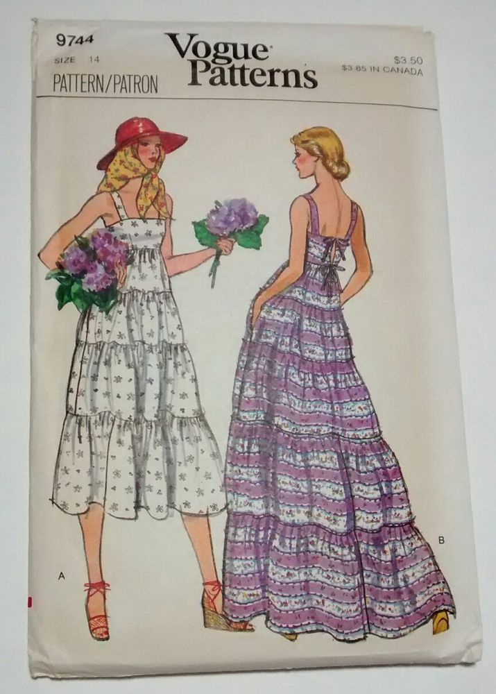Vogue Pattern 9744 Dress Size 14 Uncut Voguepatterns Wedding