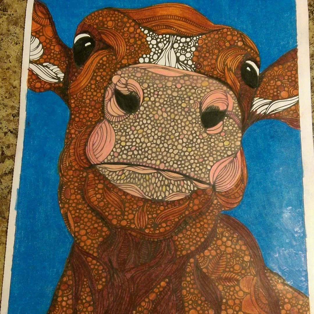 Hereford Cow Coloring Page By Valentina Harper Colored With Prismacolor Premier Pencils Adultcoloring