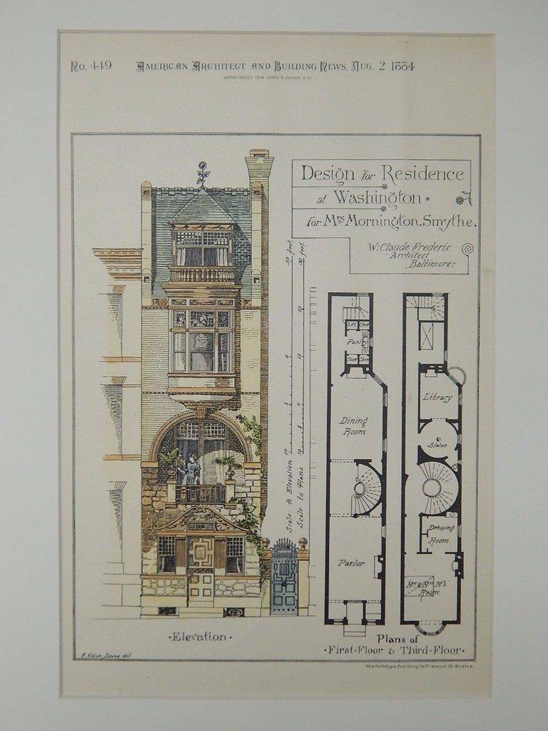 Design Mrs Mornington Smythe Residence Washington Dc 1884