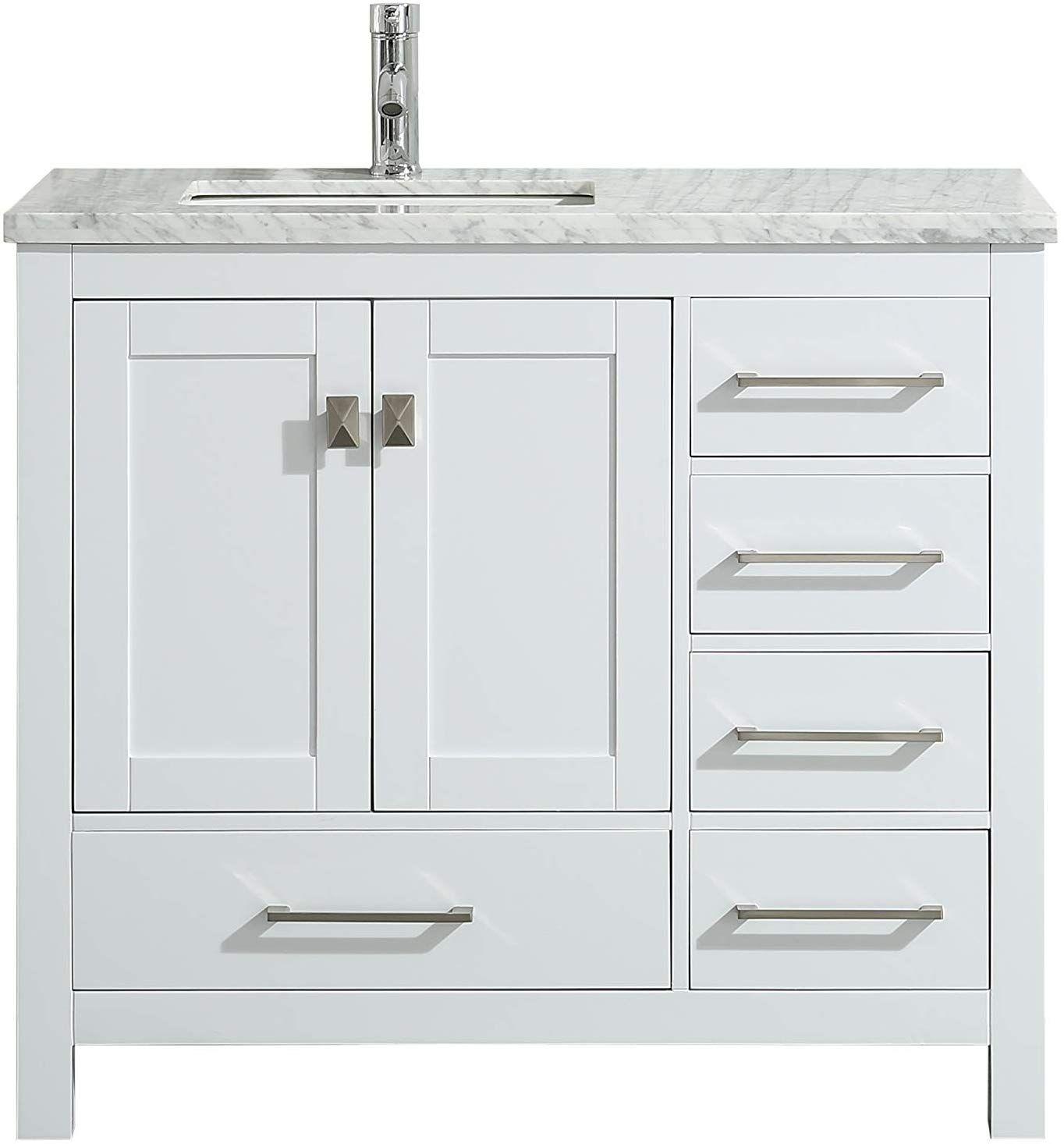Eviva Tvn414 36x18wh London 36 White Bathroom Vanity Combination Bathroom Vanity White Vanity Bathroom Bathroom Vanity Base
