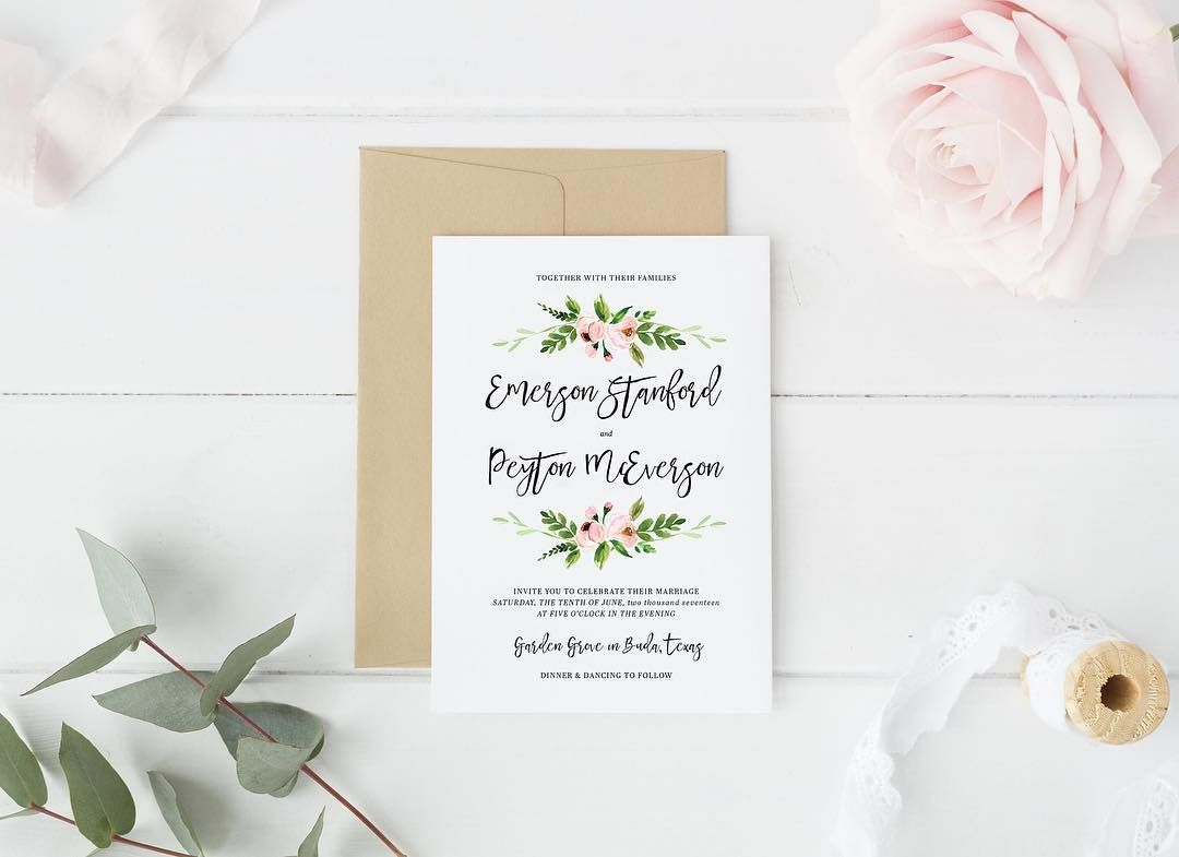 Garden Floral Rustic Chic Country Botanical Wedding Invitation Suite