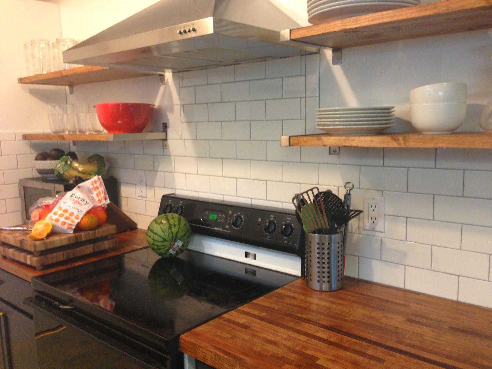 Cherry Baby Grout Rustic Kitchen Kitchen Butcher Block Countertops