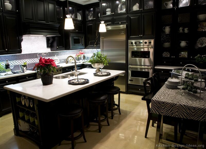 Black Kitchen Cabinets And Kitchen Island Interior Design Inspiration For  Kitchen Designs In Condos And Townhomes