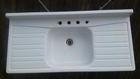 Enamel Cast Iron Farmhouse Sink Kitchen Sink With Drainboard Beauteous Kitchen Sinks With Drainboards Decorating Design