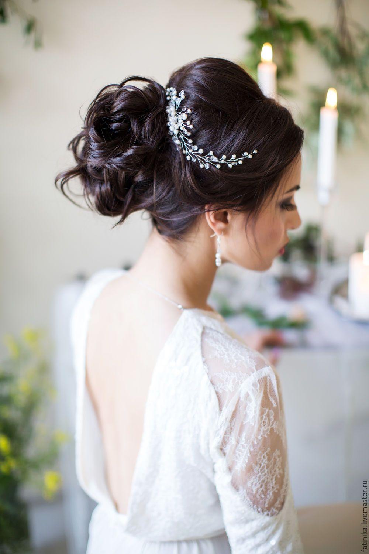 Wedding diadem / Свадебный гребень из речного жемчуга / свадебное ...