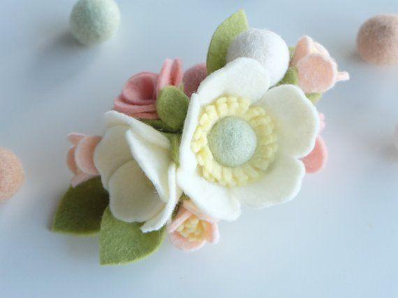Felt Flower Crown - Felt Flower Headband - Baby Crown - Flower Crown - Flower Headband - Baby Shower Gift - Ivory Flower - White Flower
