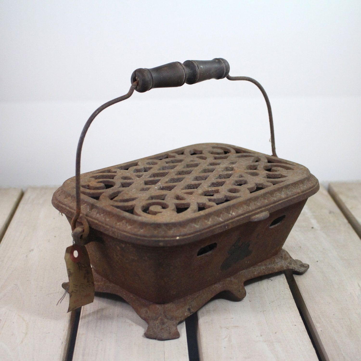 French Cast Iron Foot Warmer Coal Brazier By