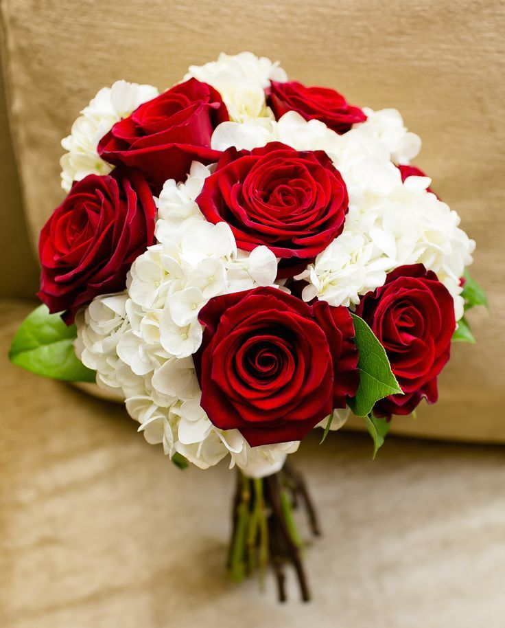 Red rose and white hydrangea bouquet | Wedding flowers | Pinterest ...