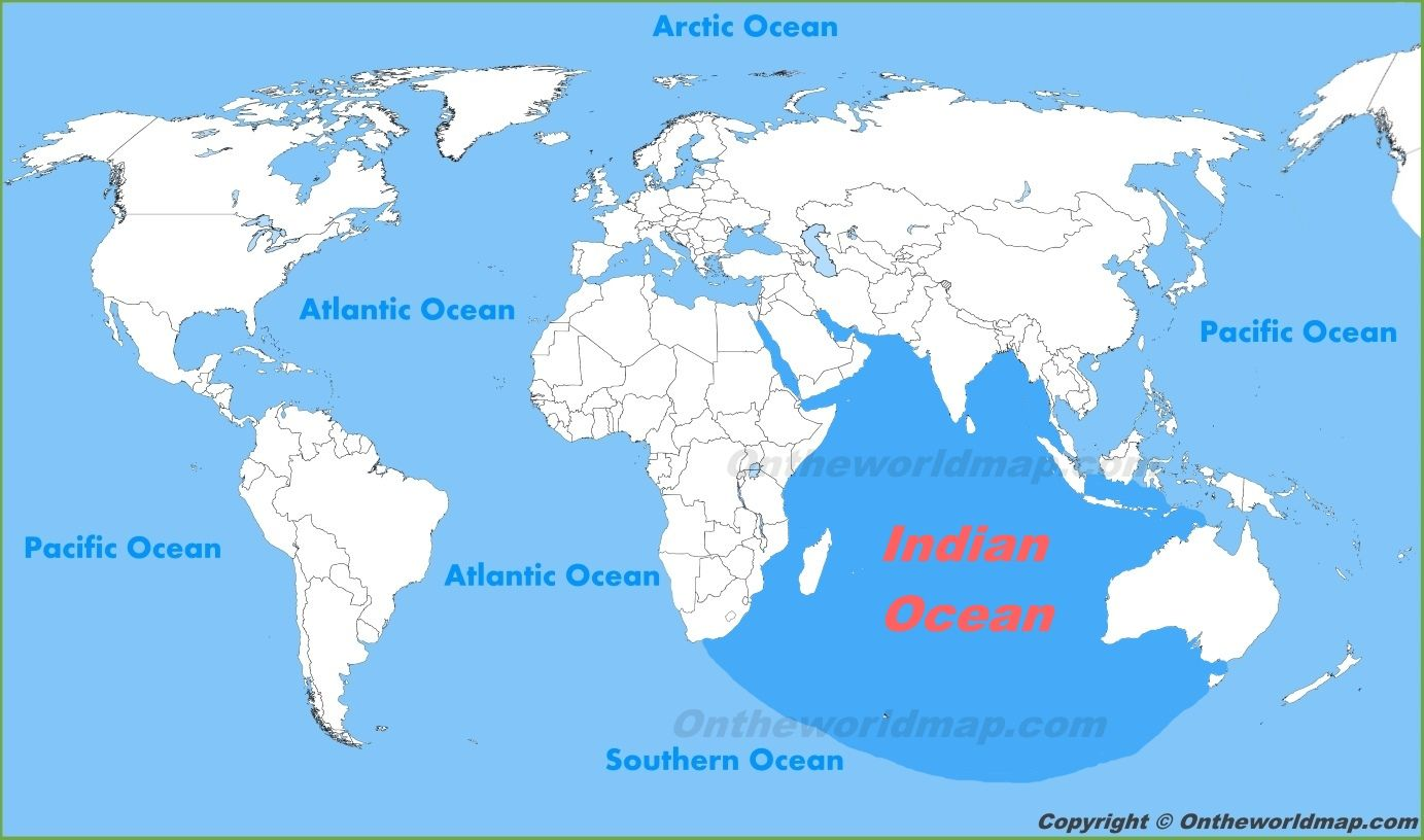 Indian Ocean Location On The World Map And With Oceans World Map Location Map Map