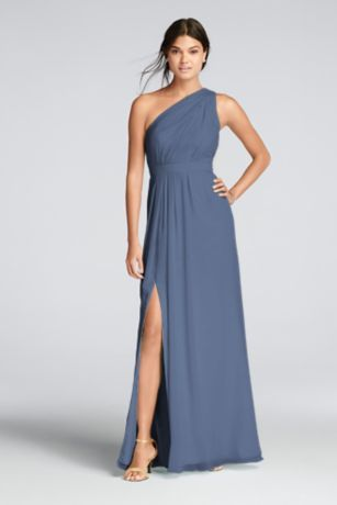 9cd28002f79 You'll love the feel of crinkle chiffon on this flowy floor-length bridesmaid  dress with a one-shoulder neckline and an elegant skirt slit.