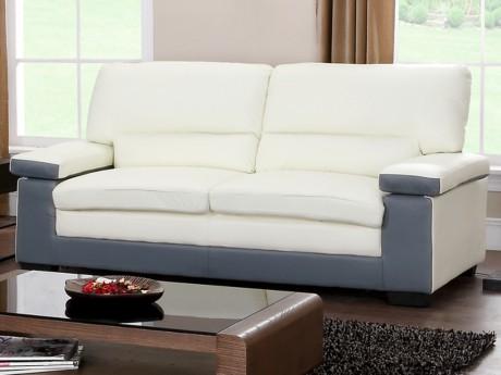Canape 3 Places En Cuir De Buffle Mimas Bicolore Gris Et Blanc