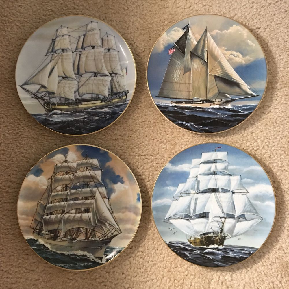 Nautical Decor Collectible Plates Great American Sailing Ships Rosenthal Germany Collectable Plates Nautical Decor Decor Collection
