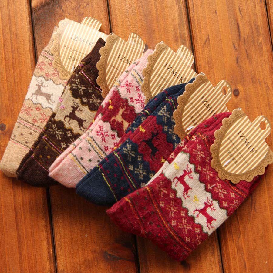 Christmas Gift Snowflake Deer Women Wool Socks Warm Cute Winter Sock Comfortable
