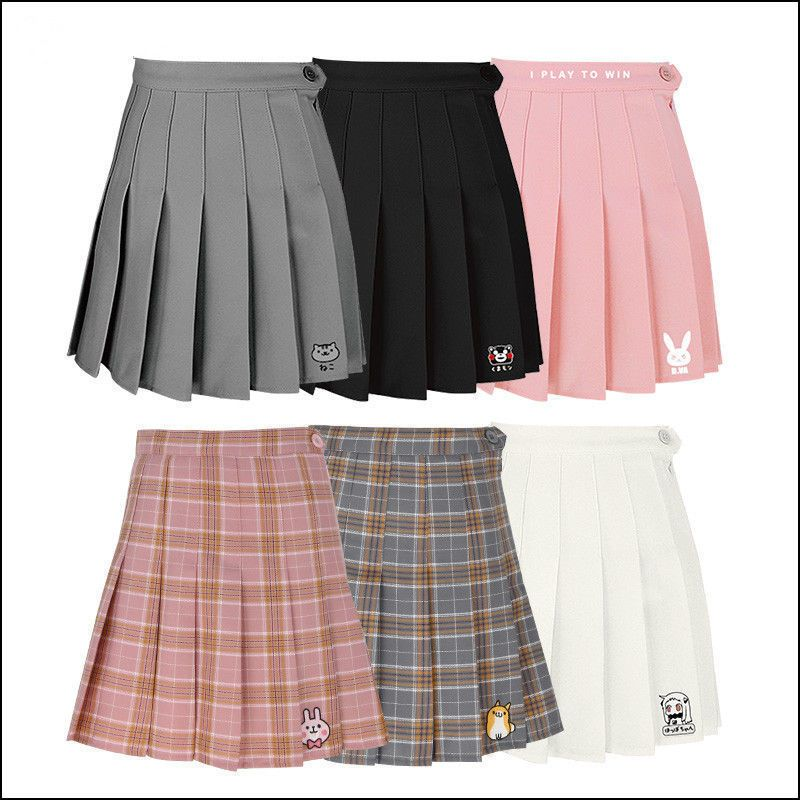 2348265cdac Anime Pleated Skirt Tall Waist Grid Skirts Jk Doge Kanahei Preppy Style  Uniform