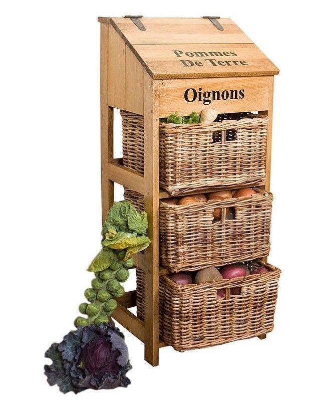 4142 этажерка для овощей на кухню деревянная с плетеными