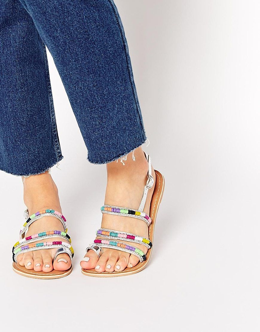 036e50fb59a9d1 Shop New Look Wide Fit Hoopy Multi Coloured Strap Flat Sandals at ASOS.