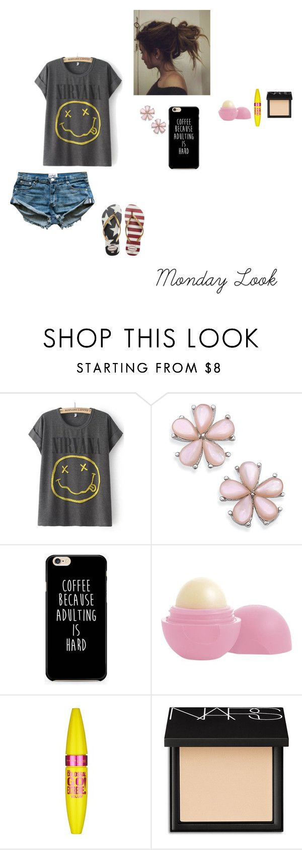 """""""Week Looks #1"""" by meliqueen ❤ liked on Polyvore featuring Eos, Maybelline, NARS Cosmetics, Havaianas and monday"""
