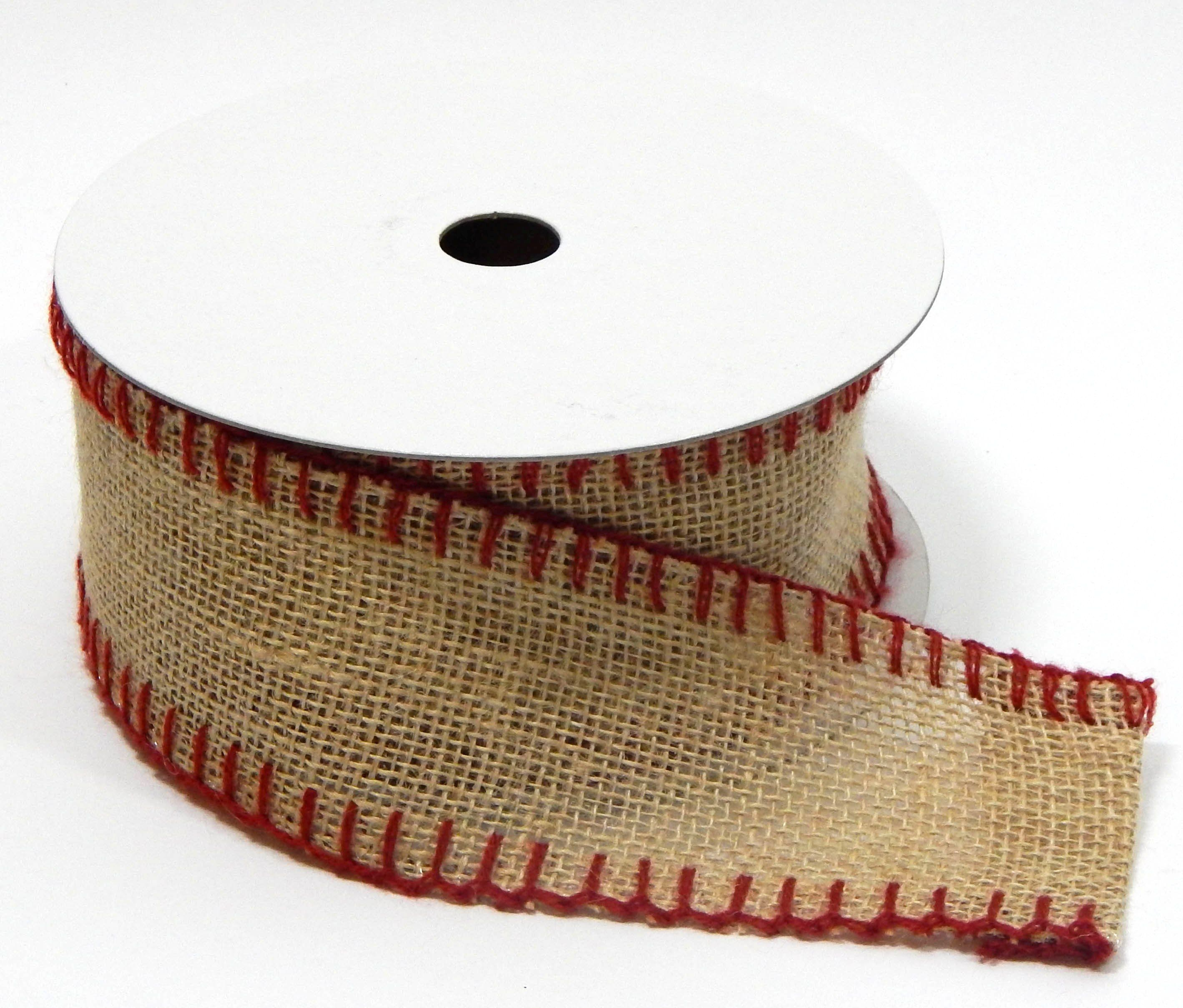 2.5 Burlap w/ red whipstitching. Wired Edge. 10 Yds Item# 3038622740