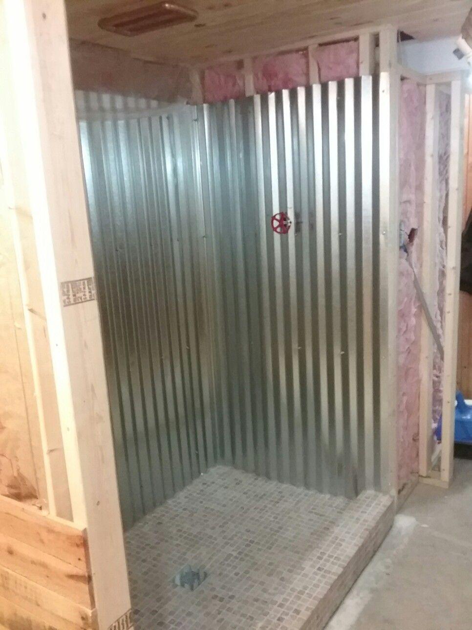 Galvanized Metal Shower Surround In 2019 Garage