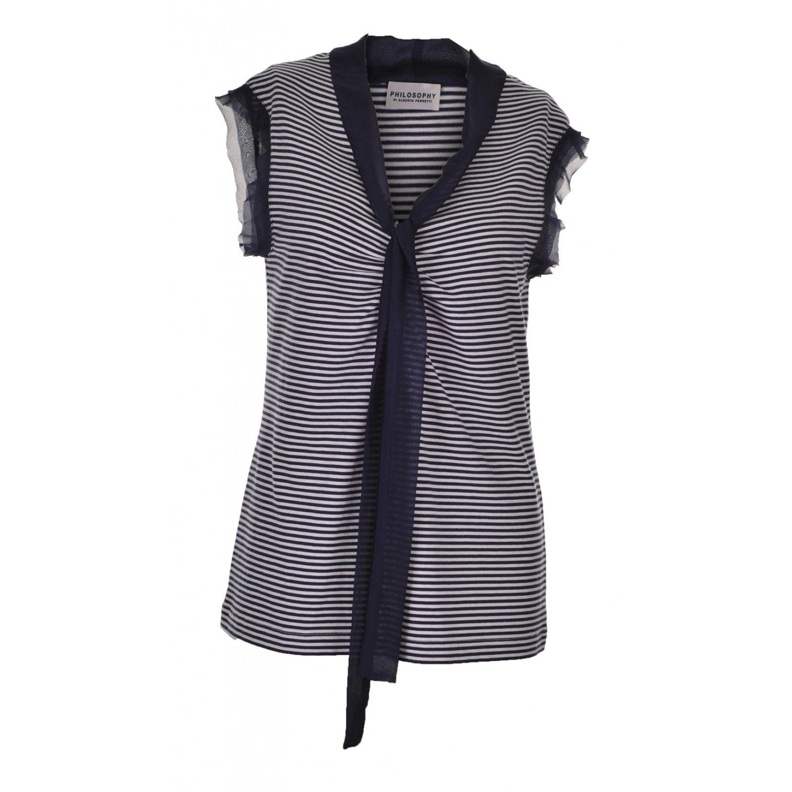 Philosophy di Alberta Ferretti striped silk chiffon-trimmed cotton top - £105    http://www.stanwells.com/by-designer/philosophy-di-alberta-ferretti/philosophy-di-alberta-ferretti-striped-silk-chiffon-trimmed-cotton-top