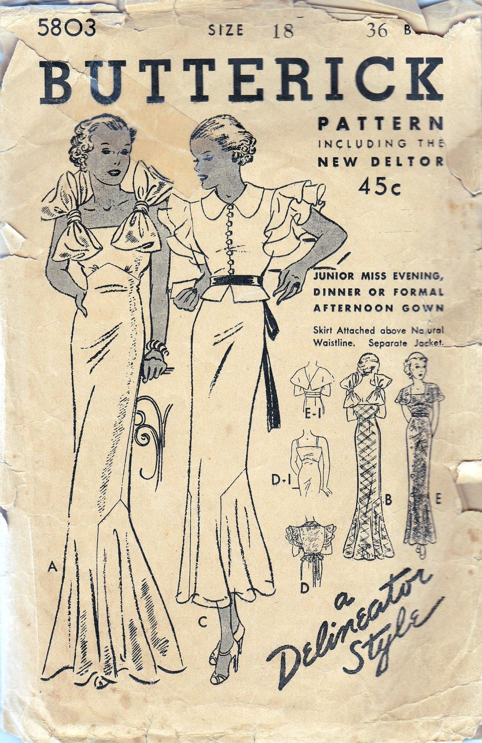 1930s Vintage Sewing Pattern Fabulous Deco Style Dress and Jacket ...