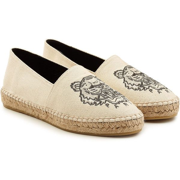 Kenzo Embroidered Cotton Espadrilles (585 SAR) ❤ liked on Polyvore  featuring shoes, sandals