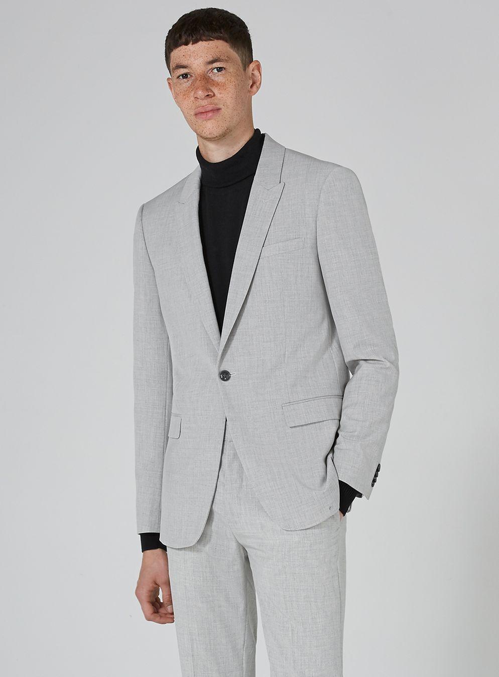 f1b50a2ef26f Light Gray Marl Skinny Fit Suit | weddin' threads in 2019 | Skinny ...