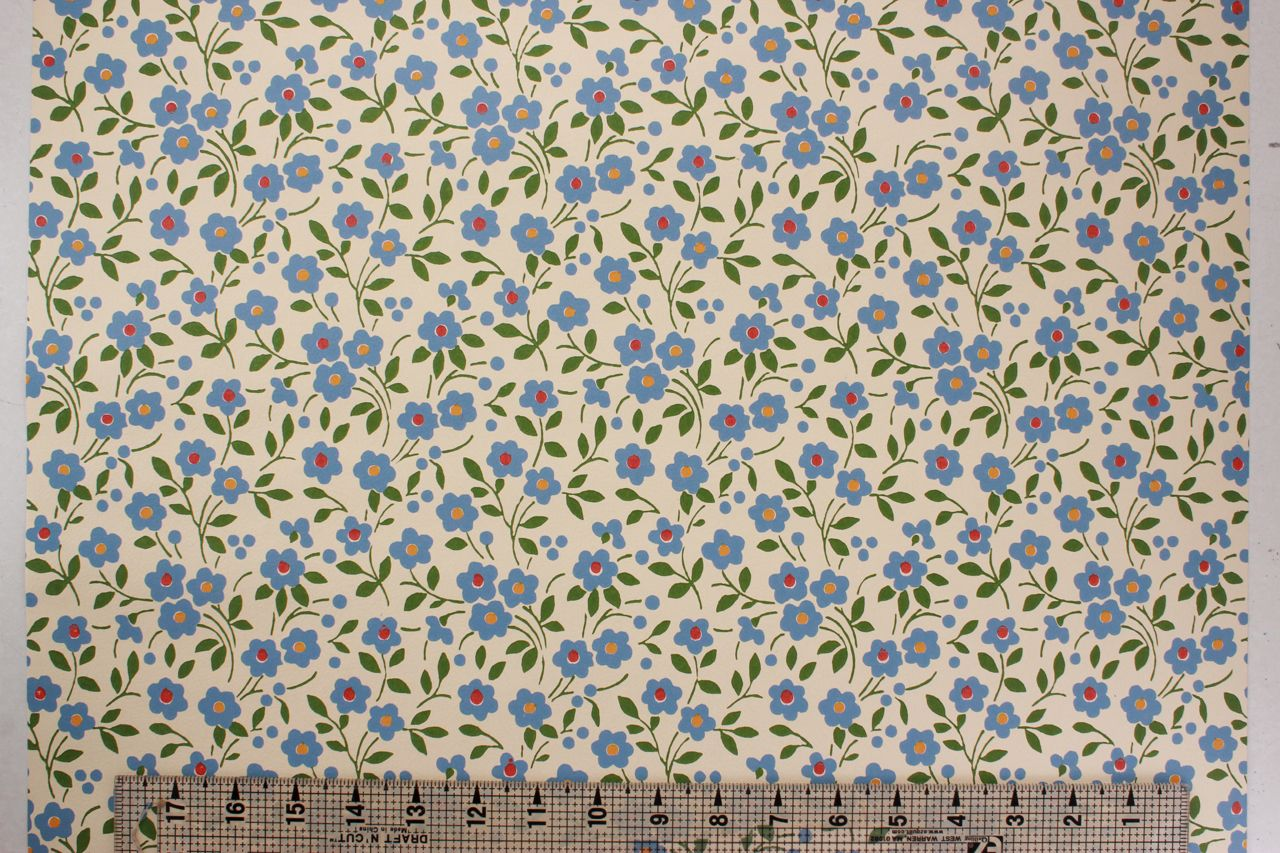 1970s Vintage Wallpaper Small Blue Flowers Vinyl #blueflowerwallpaper