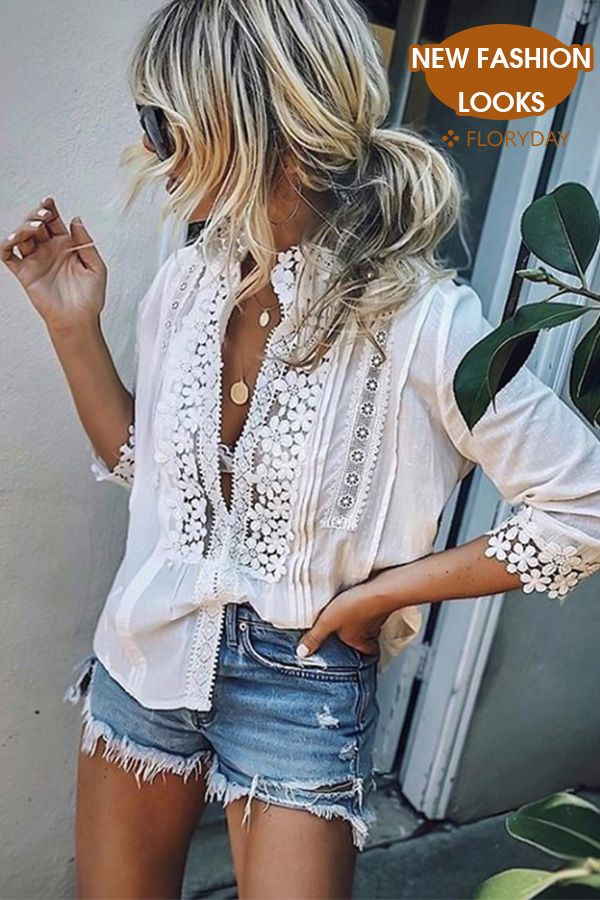 Solid 3/4 Sleeves, Blouses
