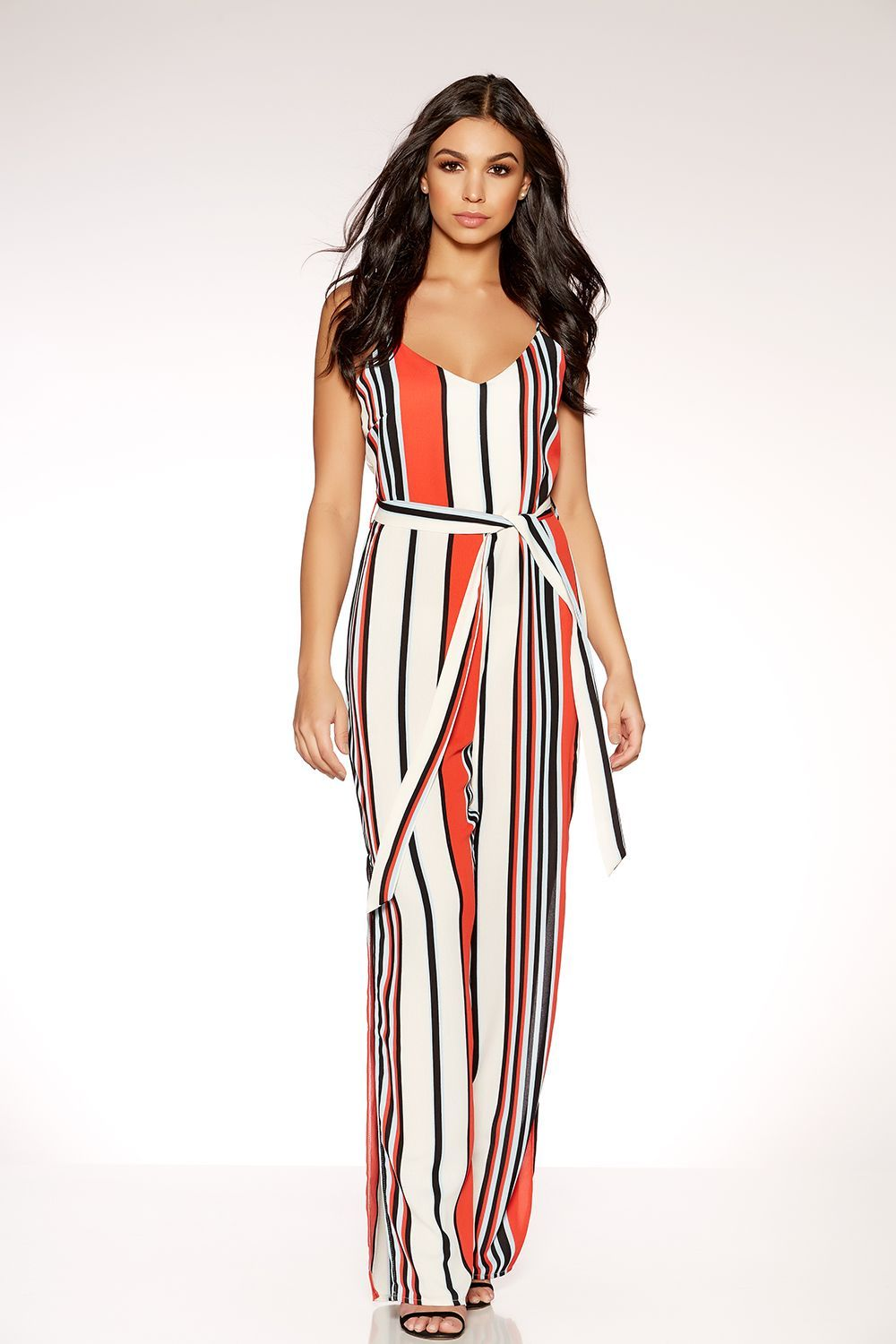 a39bf91796 Red Cream And Blue Stripe Palazzo Jumpsuit - Quiz Clothing