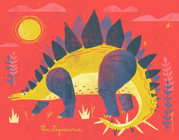 The Stegosaurus - Dinosaur Illustration - Digital Print - Wall Art for Nursery, Kids' Room, Play Room - Baby Shower Holiday Birthday Gift