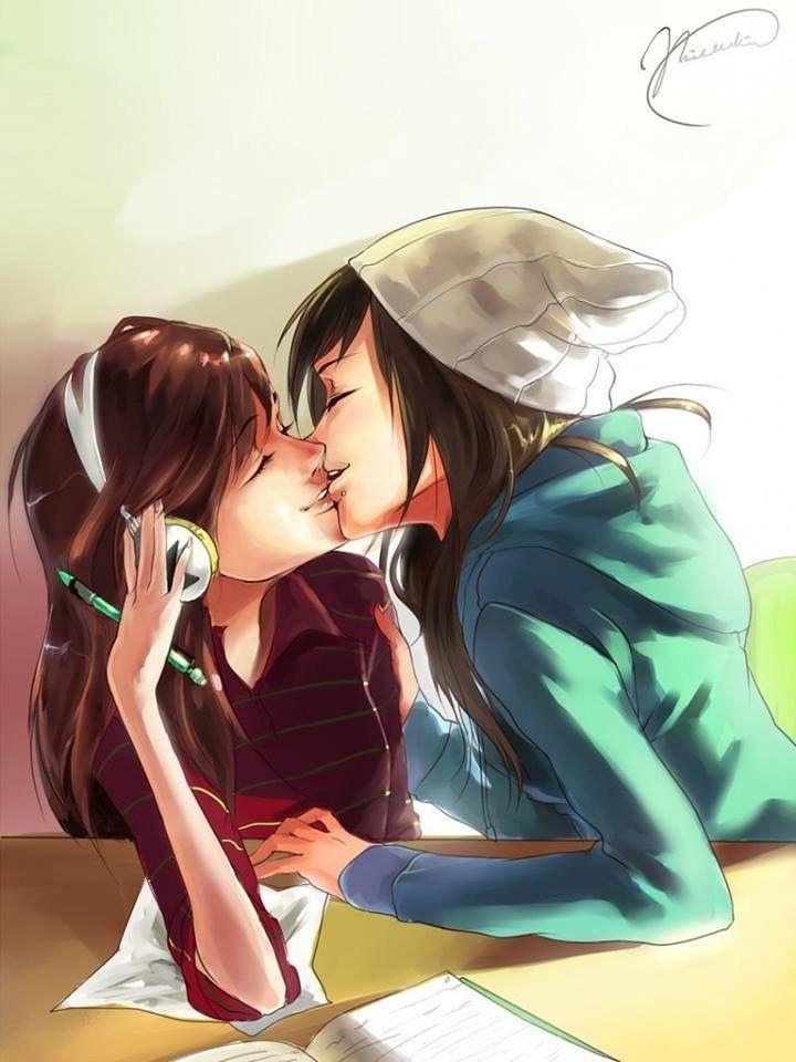Lesbian anime love