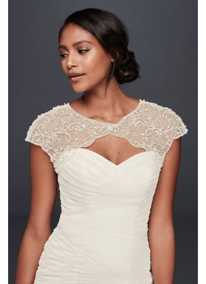 Floral Beaded Scalloped Dress Topper David S Bridal Dress Topper Wedding Dress Topper Scalloped Dress