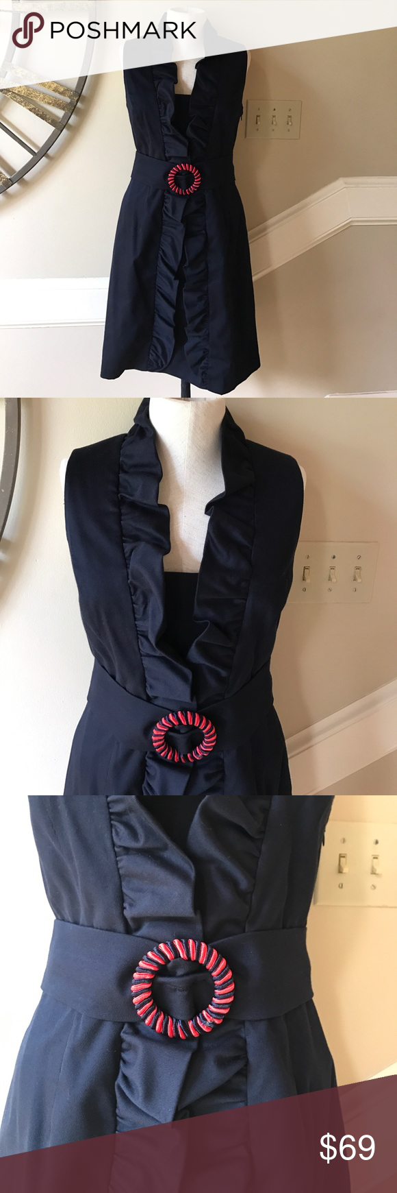 Nwt milly navy danielle dress size nwt nwt red belt perfect fit