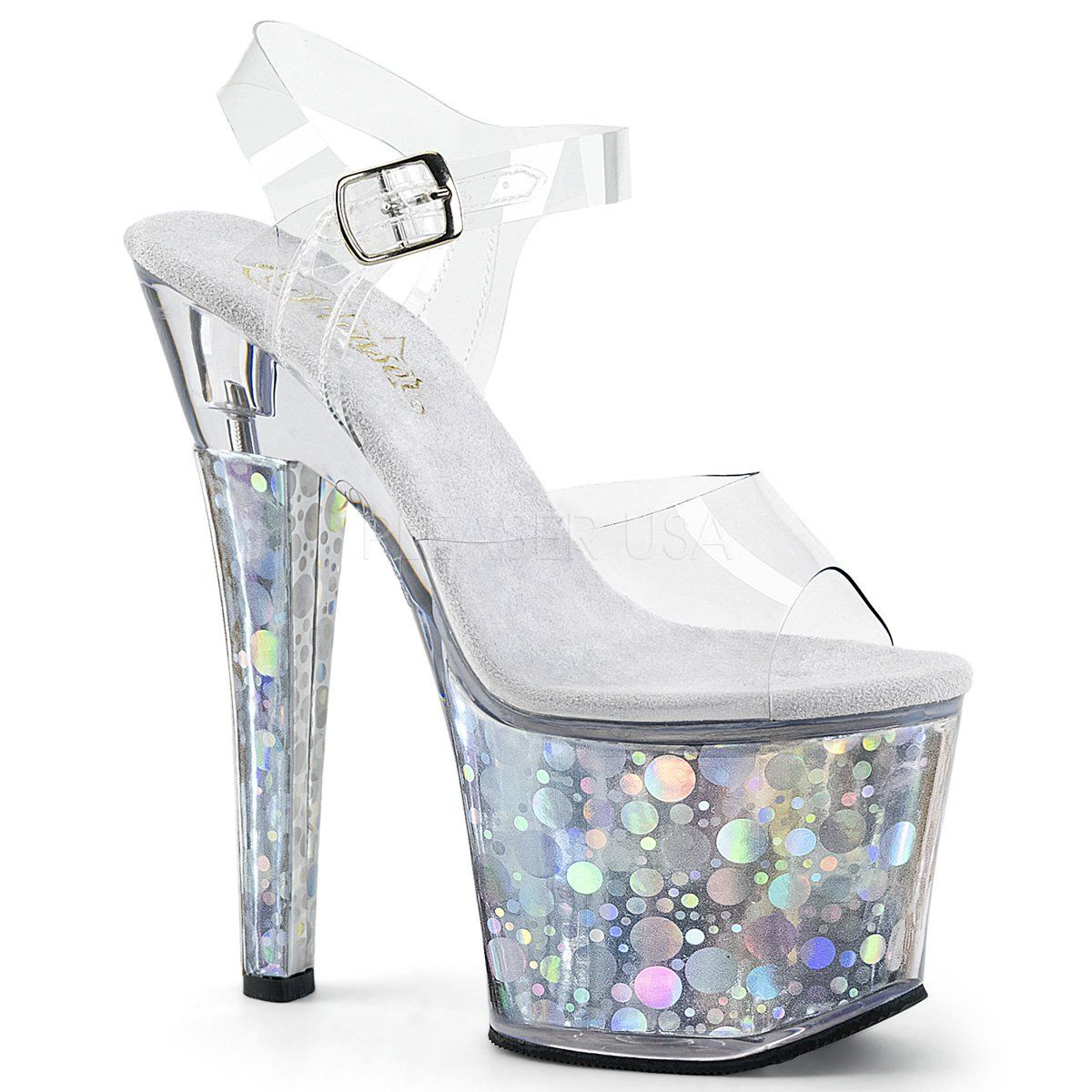 Pleaser Radiant 708T Ankle Strap Sandal (Women's) 1HinchX1