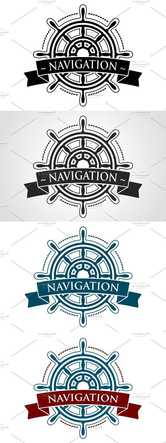 Nautical Logo. Vector Steering Wheel (With images) Wheel