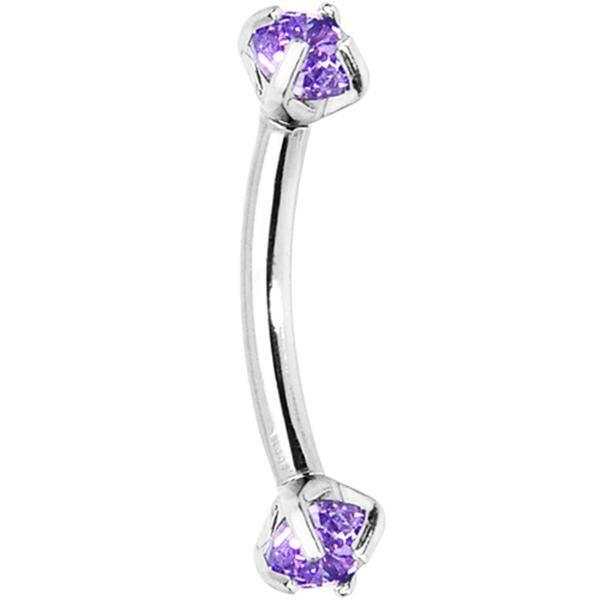 Tanzanite Purple Prong Set Gem Internally Threaded Eyebrow Ring
