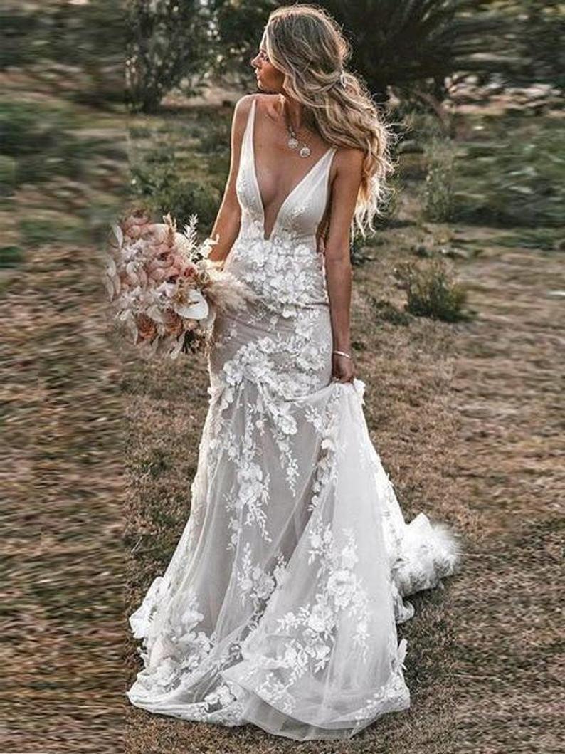 Boho Wedding Dress Lace Bridal Dress 3d Flowers Mermaid Etsy In 2021 Backless Wedding Wedding Dresses Lace V Neck Wedding Dress