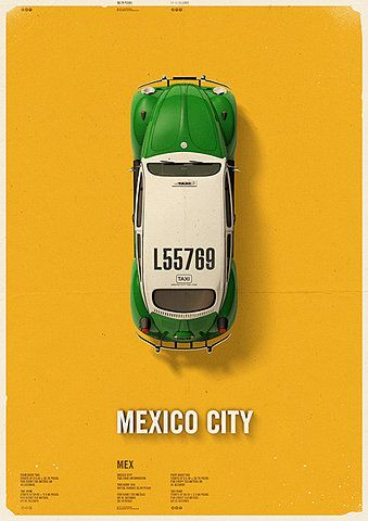 The green and white taxis of Mexico City were phased out awhile ago but will always be part of the book