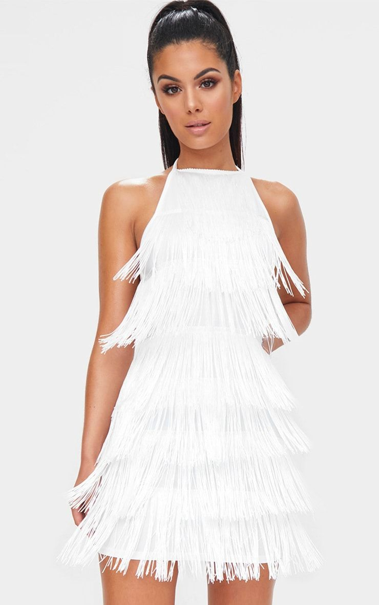 fde72f1afe White Tassel Detail Halterneck Bodycon Dress