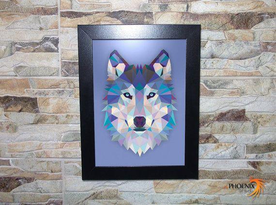 #Animal #Wolf #Wooden #Frame by #inPhoenixArt on #Etsy #WildLife #Husky #BlueEyes #Howl #Howling #AlphaMale #Gifts