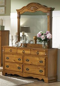 Honey Pine Dresser And Mirror
